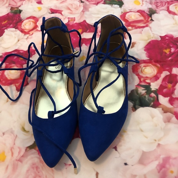 Guess Shoes - Guess Lace Up Blue Flats